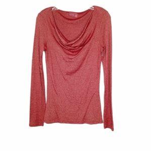 Michael Stars red shimmer drape neck blouse